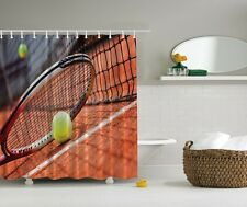 Tennis Game Graphic Shower Curtain Racquetball Sport Racket Net Ball Bath Decor