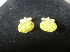Old Vintage Collectible Green Glass Stone Design Oval Shaped Men's Cuff Links