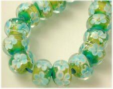 Encased Lampwork Glass Rondell Floral Beads (20) Summer Pond