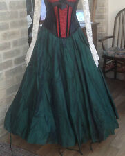 WHITBY GOTH STEAMPUNK VICTORIAN STYLE LONG GREEN POLY SILK SKIRT FREESIZE (7522)