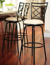 Black Set of 3 Swivel Metal  Bar Height Stools Adjustable Kitchen Counter Stool