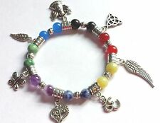 new chakra bead gemstone healing bracelet with seven charms elasticated