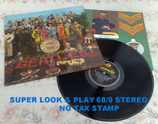 "BEATLES "" SGT PEPPER ""SUPER PLAY UK RARE NO TAX 68 STEREO +INSERT"