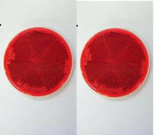 2 pcsx 58 MM MOTORCYCLE ATV Dirt Bikes STICK ON NUMBER PLATE ROUND REFLECTOR RED