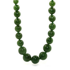 GENUINE VINTAGE GRADUATED GREENSTONE NEPHRITE JADE NECKLACE SOLID 18K 750 GOLD