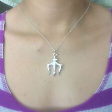 "Percy Jackson inspired Silver Trident Charm with 18"""" Silver Chain Necklace."