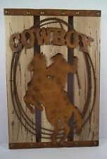 "RUSTIC WESTERN WOOD AND METAL ""COWBOY"" & HORSE SIGN"