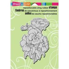 New STAMPENDOUS RUBBER STAMP cling PANSIES FLOWER BOTANICAL  Free USA ship