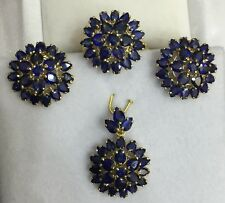 14k Solid Yellow Gold Cluster Set Earrings Ring Pendant 14.94CT Natural Sapphire