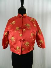 Dynasty Hong Kong Vintage Red Floral Embroidery Chinese Shrug Jacket Coat Small