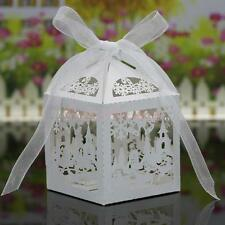 20x Christmas Scene Laser Cut Candy Gift Boxes W/Ribbon Wedding Favor White