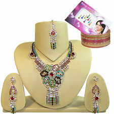 Parure Indienne Bollywood KATRINA 3 Multicolore Strass Bracelets+Bindis Offerts