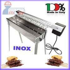 TECNOROAST KEBAB BARBECUE CHARCOAL INOX GRILL +ELECTRIC KIT 20 SKEWERS ROLLERS