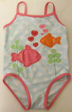 MOTHERCARE BABY GIRLS PALE BLUE SPOTTY EMBROIDERED FISH SWIMSUIT 12-18 MONTHS