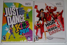 Nintendo Wii Game Lot - Just Dance Kids 2014 (New) High School Musical 3 Dance!