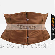 Shaper Cincher Mini Waspie Full Steel Boned Waistbust Sexy Brown Satin Corset