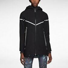 New Womens Nike Reflective Wool Hooded Jacket Size M Black/Silver Retail $200