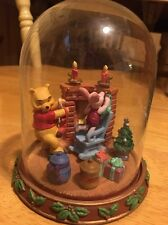 Winnie The Pooh And Piglet Christmas Collectible In Glass Dome No Box