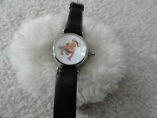 Anne Geddes Quartz Ladies Watch with a Black Leather Band