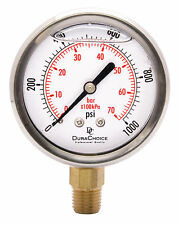 "2-1/2"" Oil Filled Pressure Gauge - SS/Br 1/4"" NPT Lower Mount 1000PSI"