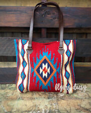 Large Wool Market Tote Bag Purse Aztec Southwest Boho Oversized  Hand Woven NEW