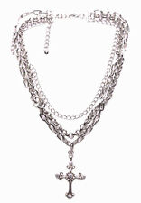 Traditional Twist- Triple Layered Chrome Chain Diamanté Cross Necklace(Zx176)