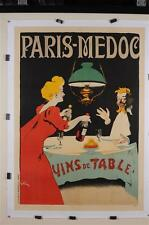"Original Vintage French Poster ""Paris-Medoc"" by Grun. ca 1900"