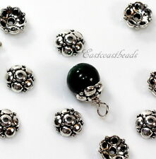 TierraCast, Eastern Bead Caps, 9mm, Fine Silver Plate Pewter, 4 Pieces, 0612