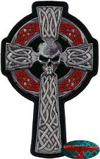 CELTIC CROSS SKULL Patch groß Aufnäher Aufbügler Backpatch Harley Rune Gothic 1%