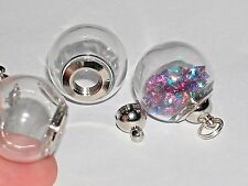 Wide Mouth Glass Crystal Ball Bottle fairy dust Locket vial Screw top Globe Orb