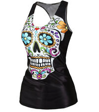 Ladies Sugar Skull top, size 10-12 UK, racer back, vest, sugarskull, tattoo