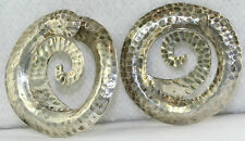 VINTAGE HAND WROUGHT LARGE HAMMERED STERLING SILVER HOOP NON PIERCED EARRINGS