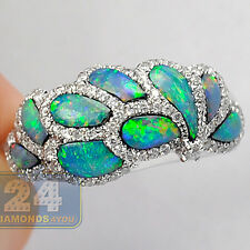 14K White Gold 0.68 ct Diamond Multicolor Opal Womens Gemstone Ring