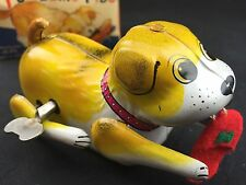 "Vintage Alps Japan ""TUMBLING FIDO"" Tin Wind Up Toy In Box with key Rare Yellow"