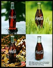 1971 Coke Coca-Cola 4 seasons bottle photo It's The Real Thing vintage print ad
