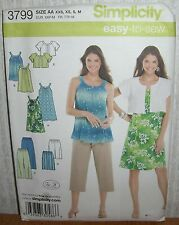 Womens/Misses Easy Dress Tunic Pants Sewing Pattern/Simplicity 3799/SZ XXS-M/UCN