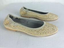 Fru.it ~ glänzender Ballerina Veloursleder beige goldene Nieten ~ Gr  38 EK402S