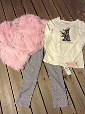 Juicy Couture pink fluffy jacket set leggings top pants 3 pc New sz 24 M months