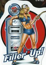 AUTOCOLLANT HOT & SEXY PIN UP- FILLER UP -STICKER DECO USA / BIKER
