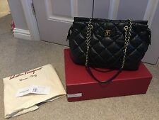 Authentic Salvatore Ferragamo Napa Leather Quilted Chain Bag