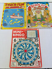 VINTAGE GAME FLIP N FISH, MINI-BINGO, STACK UP FROM 1981 SMETHPORT SPECIALTY