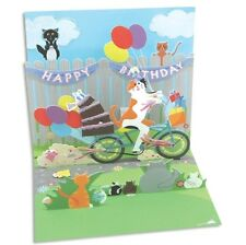 Cat & Cake Bike Ride Pop-Up Birthday Card - Greeting Card by Up With Paper