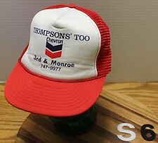 VINTAGE THOMPSONS' TOO CHEVRON HAT RED & WHITE SNAPBACK MESH BACK GOOD CONDITION