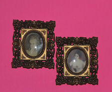 Two Ornate Golden Framed CAMEO CREATIONS of Victorian Ladies
