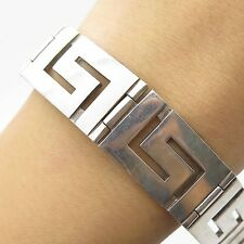 925 Sterling Silver Unique Wide Greek Maze Men's Link Bracelet 7""