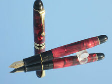 1997s  Vintage Wing Sung LUCKY 270 Fountain Pen 14K Gold Fine Nib celluloid  red