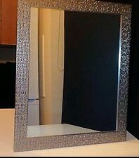 Large Silver Mosaic effect Mirror Rectangular Frame Moroccan Style 49 x 59 cm