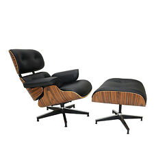 Black PU Leather Light Rosewood Eames Lounge Chair and Ottoman w Aluminum Base