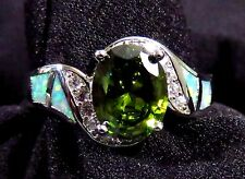 Green Lab Fire Opal & 9*7mm Peridot & WT Size 12 Sterling Silver 925 SF Ring