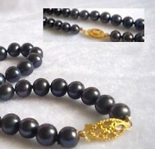 BEAUTIFUL 7-8MM AAA TAHITIAN BLACK PEARL NECKLACE 18''